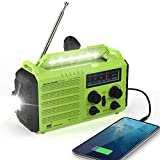 Weather Radio Rocam Emergency Hand Crank Portable Radio Solar Power AM/FM/SW/NOAA Weather Radio with 2000mAh Power Bank Phone Charger, 3W LED Flashlight, Reading Lamp, 7 Weather Band, SOS Alarm