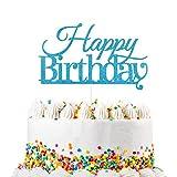 VAINECHAY - Decoración de La Torta Brillo Cupcake Topper Decoración de Tartas Magdalena Decoración para Tartas del Partido Papel Azul Cumpleaños Fiesta 10 Piezas