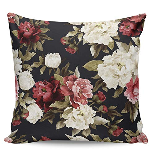 Scrummy Throw Pillow Covers 16' x 16' Vintage Red White Flowers Petals Palace Oil Painting Style Decorative Pillowcases Square Cushion Cover for Home Decor