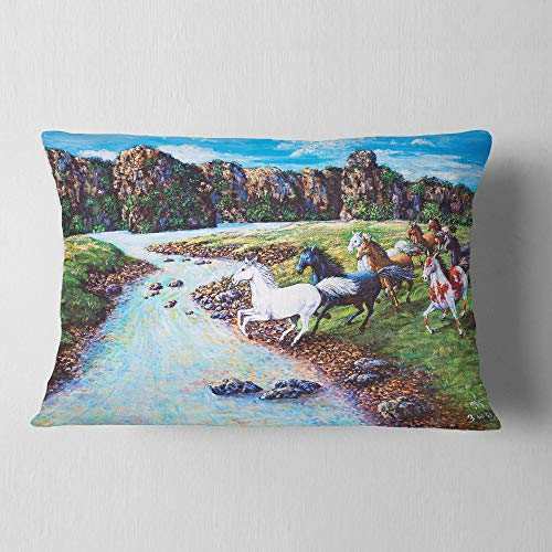 Designart Horses Crossing The Stream Landscape Painting Throw Lumbar Cushion Pillow Cover For Living Room Sofa 12 In X 20 In Shefinds