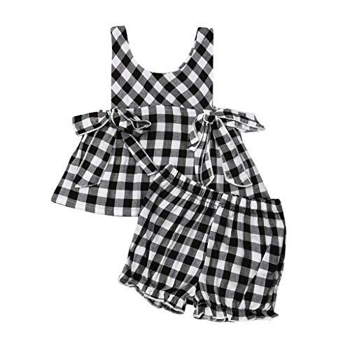 jerffer JERFER JogginganzüGe FüR Mädchen Infant Rüschen Plaid Bow PP Laterne Shorts 2PC Outfits Sets