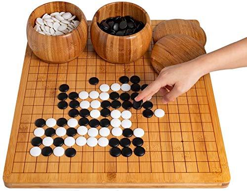 J & J Ajedrez Chino Go Set con bambú IR Junta, IR Juego del Equipo con bambú IR Junta, 0,8 Pulgadas Junta de bambú, 2-Player Classic Chino Estrategia Juego de Mesa