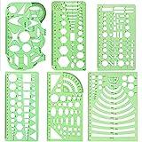 yyuezhi Zeichnung Vorlagen Kurve Technische Zeichnungen Schablonen Werkzeug Geometrische Zeichnung lineal Set Kunststoff Messschablonen für Büro und Schule Zeichenschablone Grün