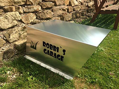 Mähroboter Garage mit Schrift nach Kundenwunsch in SCHWARZ MATT - 4