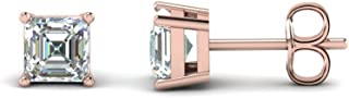 4mm-8mm Asscher Cut Clear D/VVS1 Diamond Solitaire Stud Earrings In 14K Rose Gold Plated 925 Sterling Silver