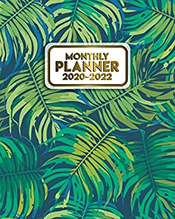 Monthly Planner 2020-2022: Three Year Calendar & Schedule Agenda with Monthly Spread Views | 3 Year Organizer with To-Do's, Motivational Quotes, Notes & Vision Boards | Exotic Tropical Fern