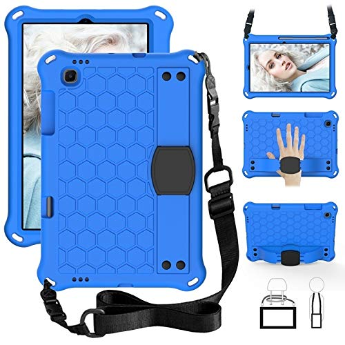 HHF Tab Accessories For Samsung Galaxy Tab S6 Lite 10.4 2020 P610 SM-P610 P615, Stand shoulder Strap Heavy Duty Silicone shockproof case For Samsung Galaxy Tab S6 Lite 10.4 (Color : Sky)