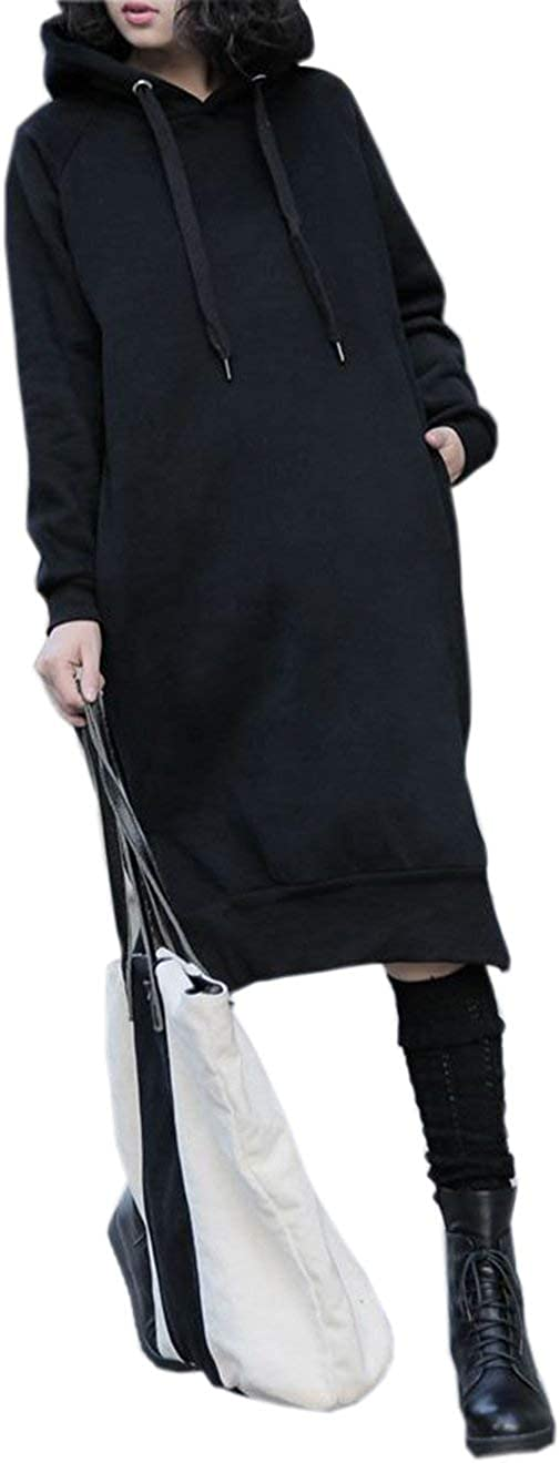NUTEXROL Women's Thickening Super beauty product restock quality top! Long Bombing new work Fleece Hoodie String Sweatshirt