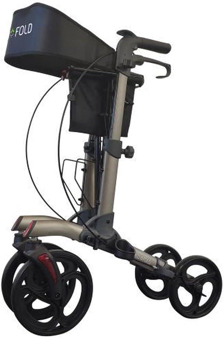 Andador plegable y compacto, tipo carrito de 4 ruedas, ayuda a la marcha para personas mayores, frenos y válvula de seguridad, bolsa con refuerzos laterales, gris mate