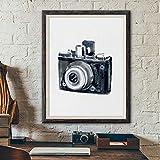 NR Vintage Kamera Poster Drucke Aquarell Wandkunst Leinwand