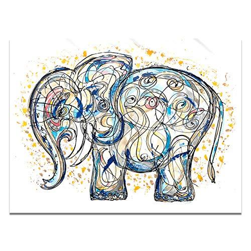 Carteles e impresiones de pintura de lienzo de elefante dorado MY-supeng, imagen de impresión de arte de pared de animal, para habitaciones de niños ilustraciones 50X60Cm