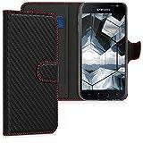kwmobile Wallet Hülle kompatibel mit Samsung Galaxy J3 (2017) DUOS - Hülle Kunstleder mit Kartenfächern Stand Carbon Schwarz Rot
