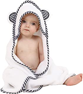 Organic Bamboo Hooded Baby Towel Soft, Hooded Bath Towels for Baby and Toddlers Hypoallergenic, Large Baby Towel Perfect Baby Shower Gift for Boys and Girls