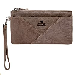 brown cash envelope wallet wristlet