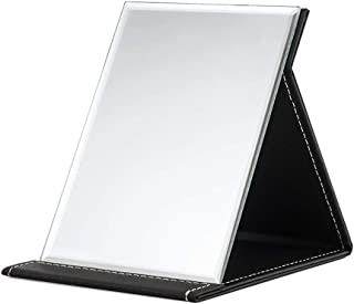 XZPENG Folding Vanity Mirror Makeup Mirror Travel Mirror, Portable Beauty Mirror (Color : Black, Size : 12.2 * 17cm)