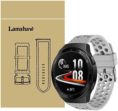 SkyBand Respirable Deporte Silicona Clásico Correas para Smartwatch Huawei Watch GT 2e (Gris)