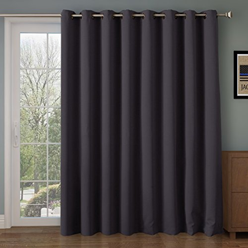 RHF Wide Thermal Blackout Patio door Curtain Panel, Sliding door insulated curtains,Extra Wide curtains:100W by 84L Inches-Grey 100W by 84L Inches-Dark Grey