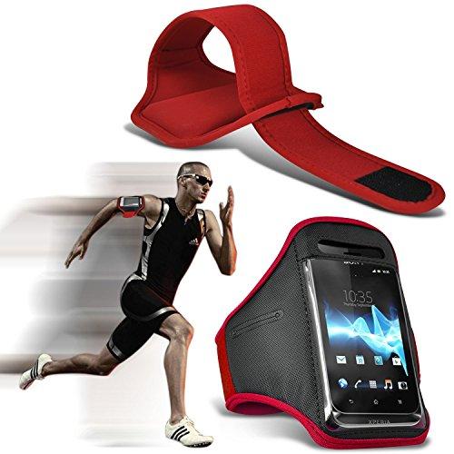 ( Rot ) HomTom HT3 pro hülle, tasche hohe Qualität mit Sport Armbänder mit dem Fahrrad Radfahren Fitnessraum Jogging befreien Armband hülle, Case von i-Tronixs