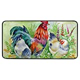 Chicken and Rooster in The Grass Vintage Kitchen Mat Rugs Cushioned Chef Soft Non-Slip Floor Mats Washable Doormat Bathroom Runner Area Rug Carpet
