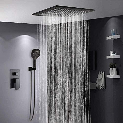 Pulverizador de techo de cobre de baño incrustado en ducha oculta Hotel tipo de pared negro con caja de ducha empotrada en frío y caliente sistema de ducha - sistema hermoso práctico
