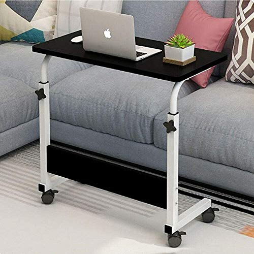 Visiondeals Adjustable Laptop Table Computer Notebook Desk with Movable Wheels Portable Trolley Sofa Bed Tray (Black)