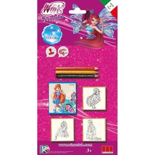 Multiprint- Blister 3 Timbri per Bambini Winx, 100% Made in Italy, Set Timbrini Bimbi Personalizzati, in Legno e Gomma Naturale, Inchiostro Lavabile Atossico, Idea Regalo, 3827