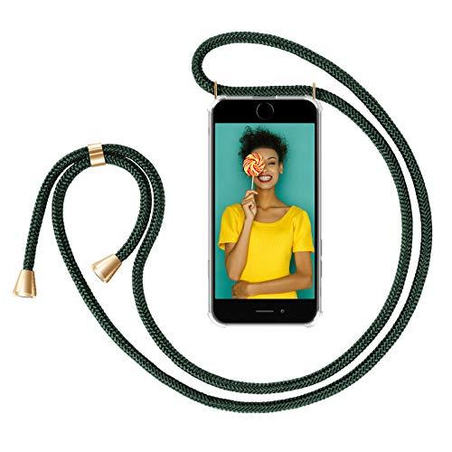 ZhinkArts Cadena para Teléfono Móvil Compatible con Apple iPhone 7 Plus / 8 Plus - Funda con Collar de Cordón para Smartphone - Carcasa con Correa para Celular para Llevar - Verde