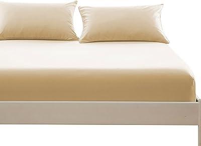 ボックスシーツ 毛玉なし 綿100% シーツ マチ部分約30cm ベッドシーツ マットレスカバー ベッドカバー (セミダブル・120X200cm, ベージュ)