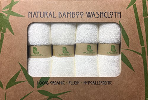 Organic Bamboo Washcloths. Gentle for Sensitive Skin- Acne, Rosacea and Eczema. Superior Softness for Babies. Ideal for Makeup Removal. Highly Absorbent Cloths (6-Pack) Presented by BambooFy