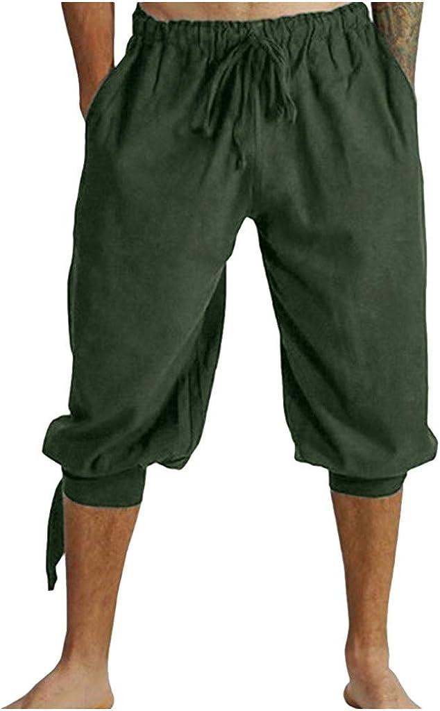 Men's Summer Athletic Shorts Cotton Linen Knee Length Casual Shorts Fashion Bandage Retro Beach Pants - Limsea