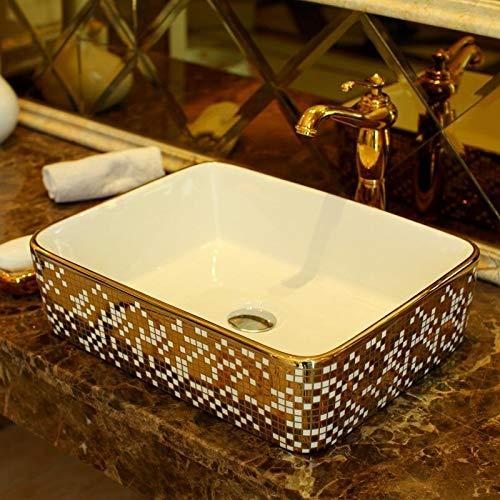 KKLL Gegenoberseiten Waschbecken Rechteckige Form Keramikspüle Waschbecken keramisches Top Waschbecken Badezimmer Waschbecken Gartenwaschtisch ohne Hahn