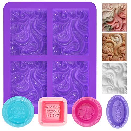 FineGood Wave, 5 stampi per sapone in silicone per creare sapone, forniture rettangolari a 4 cavità, teglia da forno per muffin, cupcake e pane