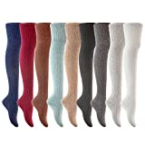 Lian LifeStyle Exquisite Big Girl's Women's 3 Pairs Thigh High Cotton Socks Size 6-9(Assorted)