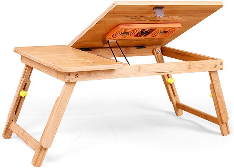 mejor precio WENYAO GYYZDZ Mesa Mesa Mesa Pequeña Pequeña de bambú con Ventilador para el hogar, Mesa de Estudio Plegable con Cama Ajustable, Adecuada para el Campamento estudiantil (Medio)  marca de lujo
