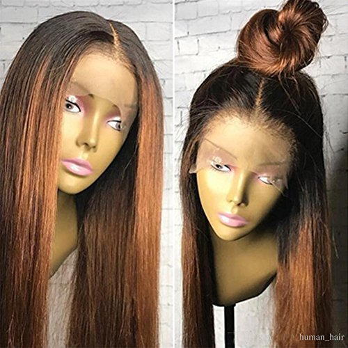 Human Hair Straight full lace wig 100% Real Brazilian Hair Ombre Black Roots 1B 30 Color 130%...