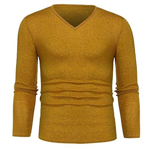 DEELIN T-Shirt à Manches Longues Homme Automne Basique Couleur Unie Sweat-Shirt Léger Col V Slim Fit Top Chemise De Mode Simple pour Hommes
