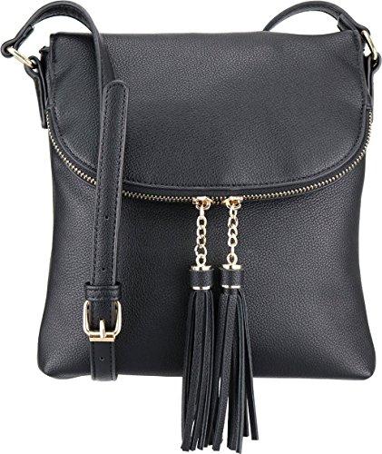 B BRENTANO Vegan Medium Flap-Over Crossbody Handbag with Tassel Accents (Black)