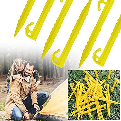 FAVENGO 30 Pcs Estacas Plasticas Piquetas 14.3cm Tienda Campaña Piquetas Estacas de Playa Estacas de Plastico para Jardin Playa Patios Viaje para Tienda Campaña Toldo Lona Malla Anti Hierbas, Amarillo