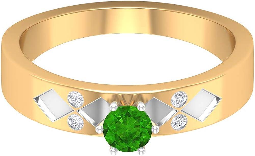 Price reduction Washington Mall 4 MM Lab Created Tsavorite HI-SI Ring Solitaire Diamond E