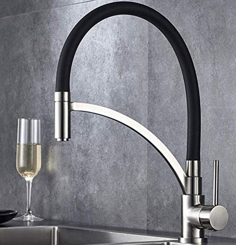 TYP Faucet Küchenarmatur Wasserhahn Flexibel Mischbatterie 360°drehbar Einhebel-spültischarmatur Armatur Aus Für Küche Schwarz(gebürstete Oberflche)