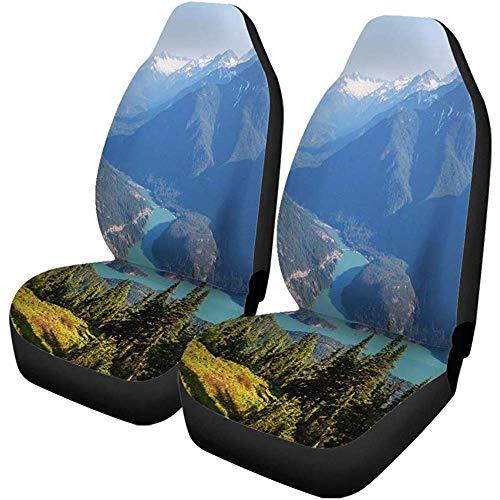 Beth-D autostoelhoezen Blue Mountain Diablo Lake Washington groen noord-west-pacific Amerika 2-delige set autoaccessoires beschermers car decor fit