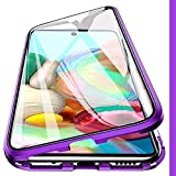 Woskko Magnetic Case Compatible Galaxy A71 Case, 360° Full Body Transparent Tempered Glass with Magnetic Adsorption Metal Bumper Case Cover for Samsung Galaxy A71 5G 2020 (for Galaxy A71 4G, Purple)