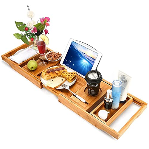 Wede Caja De Almacenamiento De Bañera Adecuada para Bañera Y Baño De Madera Ajustable.