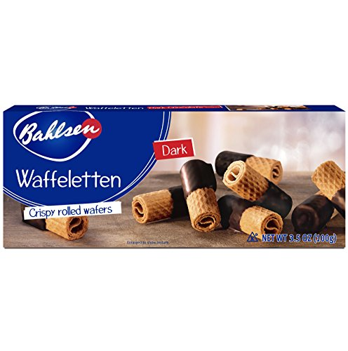 Bahlsen Waffeletten Dark Chocolate Dipped Cookies (12 boxes) - Delicate wafer rolls dipped in rich dark European chocolate - 3.5 oz boxes