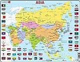 Larsen K44 Mapa político de Asia, edición en Inglés, Puzzle de Marco con 70 Piezas