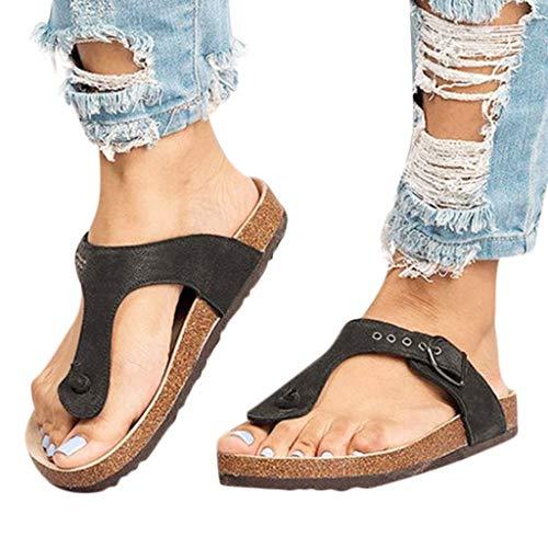 Sandals for Women Bummyo Ladies Flip Flop Flat Sandals Summer Comfortable Slippers Sandals Casual Shoes Beach Shoes(8.5M US, Black)