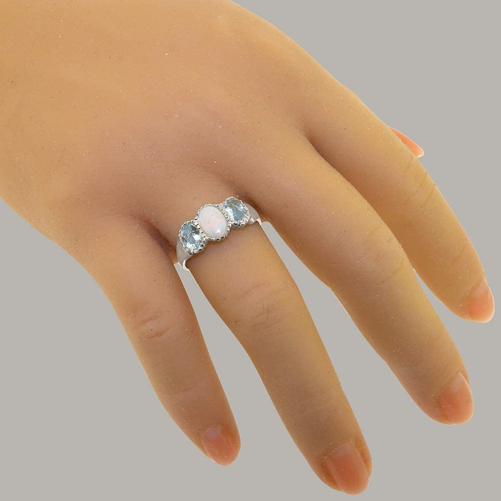 14k White Gold Natural Opal & Aquamarine Womens Trilogy Ring - Sizes 4 to 12 Available