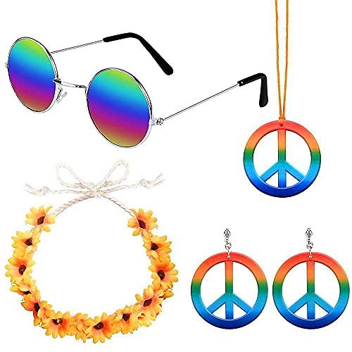 Conjunto de 4 piezas de traje hippie 60s 70s traje hippie traje conjunto de accesorios hippie gafas y collar de signo de paz, pendiente, corona de flores diadema