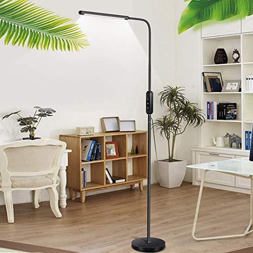 Lámpara de pie, lámpara de pie, lámpara de pie de lectura LED para el cuidado de los ojos con control táctil y control remoto, brillo de 5 niveles y 5 colores con cuello de cisne flexible para dormi