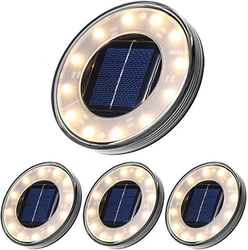 Boden Solarleuchte, Solar Bodenleuchte Tomshine 12 LED Solar Gartenleuchte Solarlampe mit Erdspieß IP68 Wasserdicht【4 Stück Warmweiß】